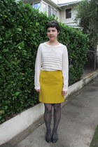 charcoal gray J Crew tights - gold thrifted skirt - cream Forever 21 blouse