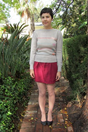 brick red thrifted skirt - silver vintage from Mars Mercantile sweater