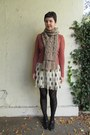 Brick-red-thrifted-sweater-black-urban-outfitters-tights-tan-j-crew-scarf