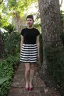 Black-thrifted-theme-sweater-white-dorothy-perkins-skirt-ruby-red-aldo-flats