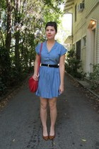 red AMERICAN VINTAGE bag - periwinkle Forever 21 dress - navy thrifted belt