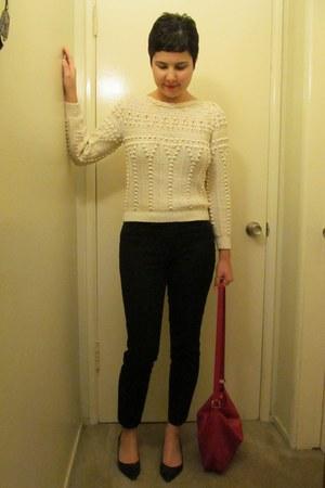 black Gap pants - cream thrifted vintage sweater - red AMERICAN VINTAGE bag