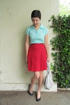 red thrifted skirt - silver Tignanello bag - black Target heels