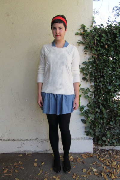 black Target tights - blue Forever 21 dress - white Forever 21 sweater