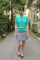 heather gray thrifted skirt - aquamarine thrifted vintage sweater