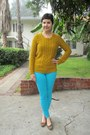 Aquamarine-bebe-jeans-gold-target-sweater-bronze-aura-by-lodi-flats