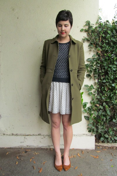 olive green J Crew coat - navy Nordstrom Rack sweater