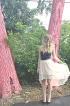 black leather bustier Forever 21 top - light pink sheer Forever 21 skirt