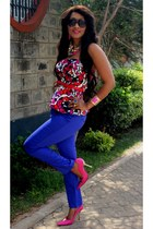 blue 2NU pants - hot pink 2NU top