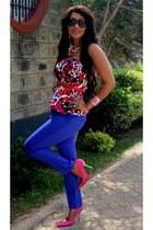 blue 2NU pants - hot pink 2NU top