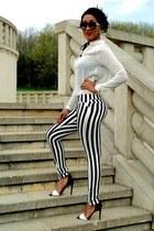 black 2NU pants - white 2NU shirt