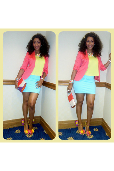 aquamarine 2NU skirt - salmon H&M blazer - light yellow 2NU top