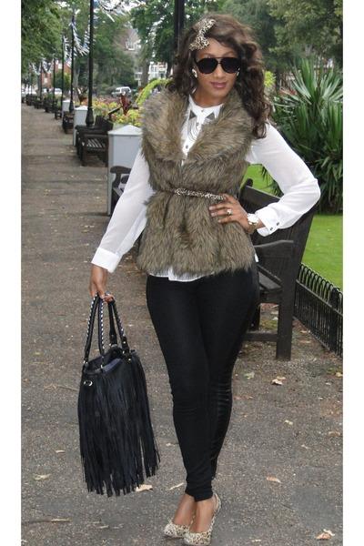 camel 2NU jacket - cream 2NU shirt - black H&M pants