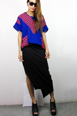 black 2amstyles skirt - blue 2amstyles top