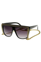 Flat Top Oversize Chain Sunglasses