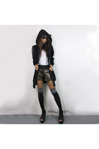 black cotton 2amstyles hoodie - black 2amstyles shorts