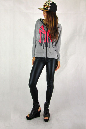 charcoal gray 2amstyles hoodie - black glossy tight 2amstyles pants