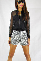 black 2amstyles jacket - off white 2amstyles shorts