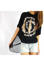 Shoulder Chain Back Sheer Tee