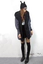 black knife velvet 2amstyles skirt - black cat ears wool 2amstyles hat