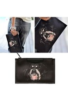 Rottweiler Dog Head Print Clutch
