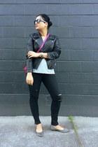 black DKNY jacket - black sofia skinny Lucky Brand jeans