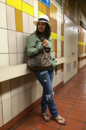 brown Ralph Lauren bag - blue jeans - olive green H&M jacket