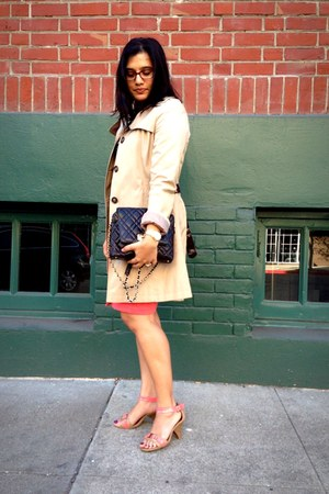 coral ponte The Limited skirt - beige trench Via Spiga jacket