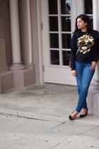 blue stilt AG Ariana Goldschmied jeans - camel crossbody Ralph Lauren bag