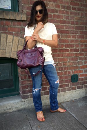maroon Besso bag - blue premiere skinny AG Ariana Goldschied jeans