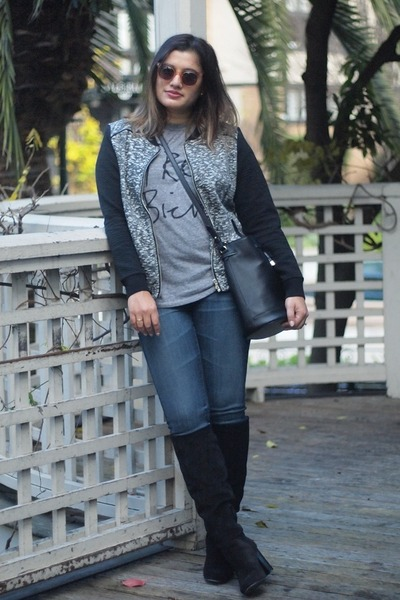 black suede Vince Camuto boots - blue zip legging AG Ariana Goldschmied jeans