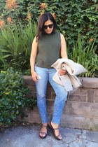 heather gray moto wool Ganni jacket - blue AG Ariana Goldschmied jeans