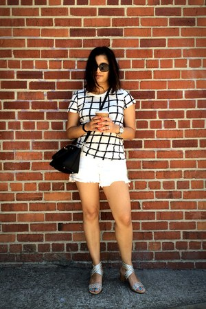 white free people shorts - black DKNY bag - white French Connection t-shirt