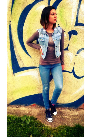 denim H&M shoes - denim Bershka jeans - denim Stradivarius vest