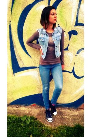 denim H&M shoes - denim Bershka jeans - denim Stradivarius vest