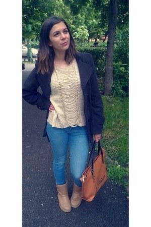 goldie cato blouse - camel Mei boots - grey Takko coat - denim Bershka jeans