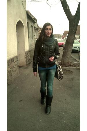leather black cato jacket - leather black Mei boots - blue Bershka jeans