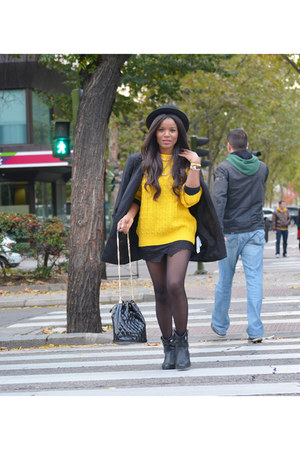 black fama boots - black H&M hat - yellow united colors of benetton sweater
