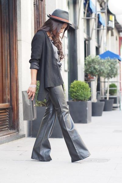 black Zara jacket - heather gray vintage bag - black trafaluc pants