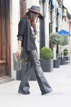 black Zara jacket - heather gray vintage bag - black trafaluc pants
