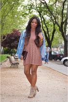 beige fama boots - pink DIY dress - sky blue Pepe Jeans jacket