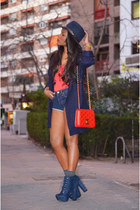 red Bershka shirt - navy Zara hat - red Chanel bag - heather gray Levis shorts