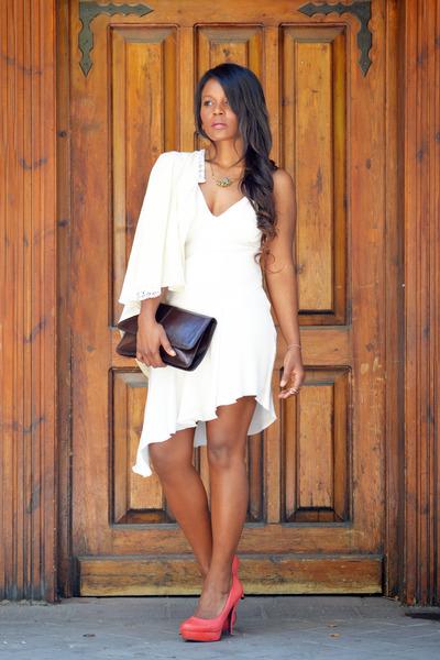 salmon fama shoes - Zara dress - ivory Trucco jacket