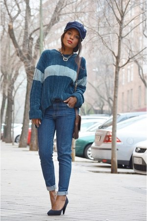 navy Bershka shoes - navy Mango jeans - sky blue el corte ingles sweater