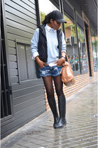 black Decathlon boots - sky blue Ralph Lauren sweater - black H&M hair accessory