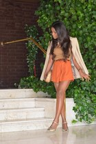light orange Irene Laya shoes - nude Zara blazer - carrot orange DIY shorts