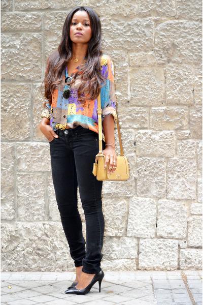 sky blue vintage shirt - Zara shoes - tawny volum bag - black Mango pants