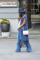 navy Zara hat - ivory Chanel bag - sky blue Victorio y Lucchino cardigan