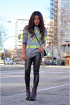 black Zara leggings - chartreuse fama boots - black vintage bag