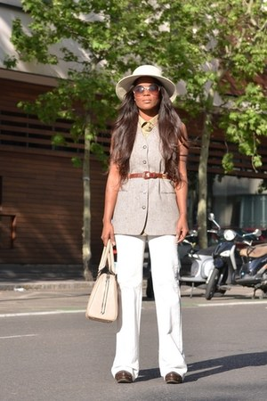 ivory Nine West hat - beige vintage vest - white pull&bear pants